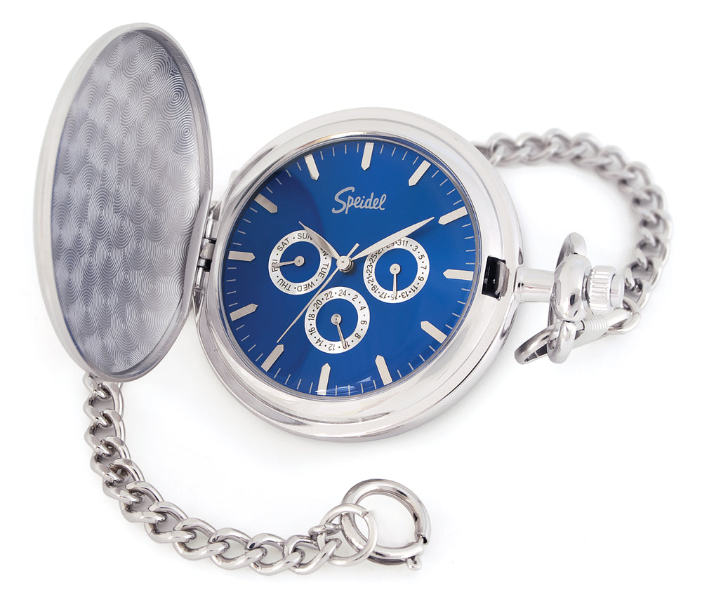 Blue dial pocket watch with day and date