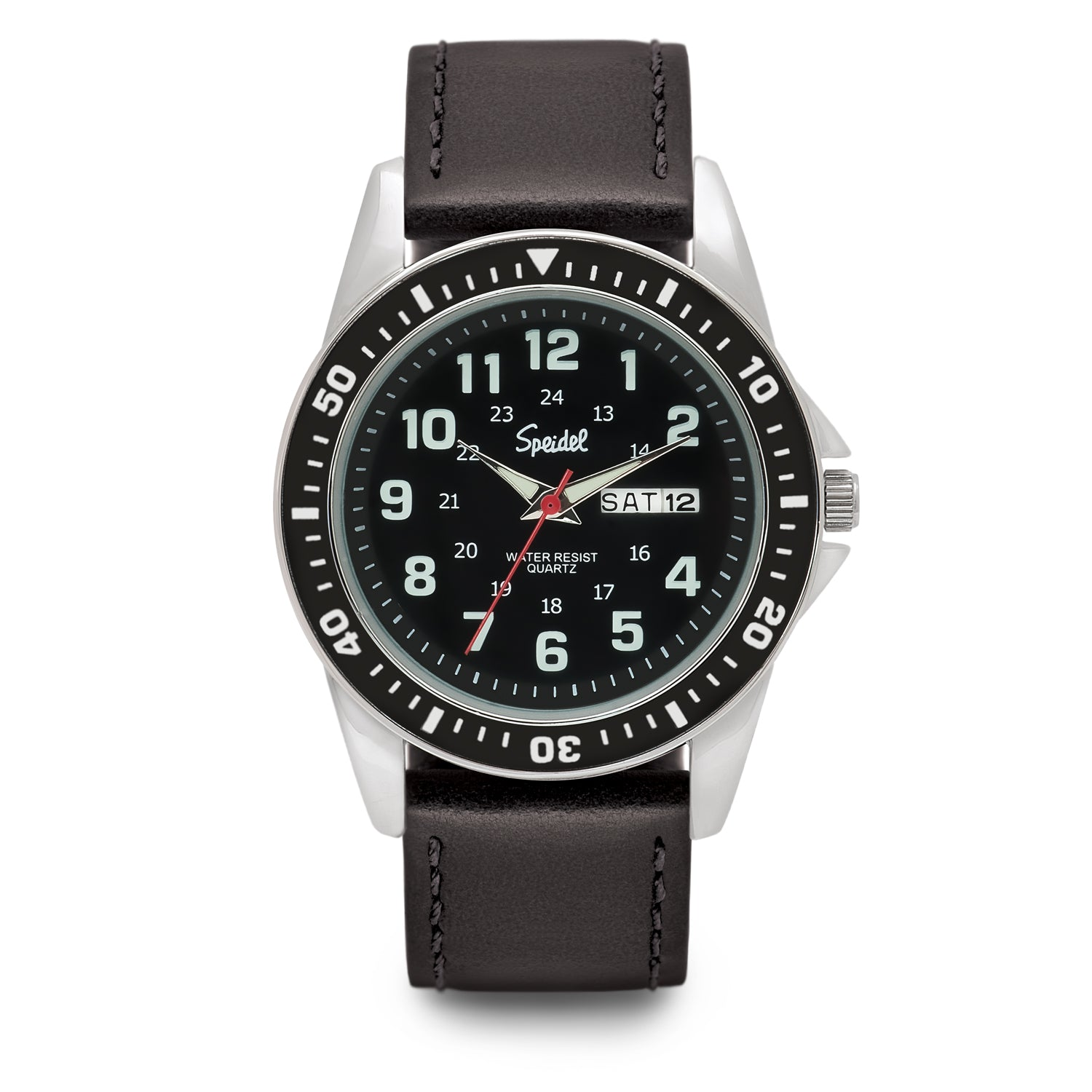 Men's Leather Tachymeter Watch From Speidel