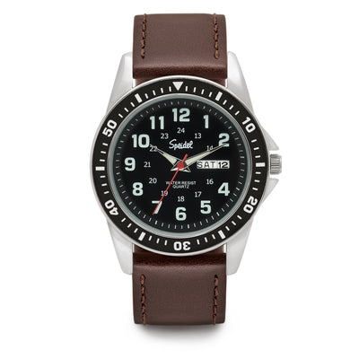 Men's Leather Tachymeter Watch