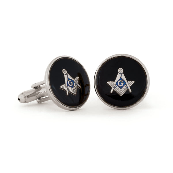 Jet Swirl Masonic Cuff Links
