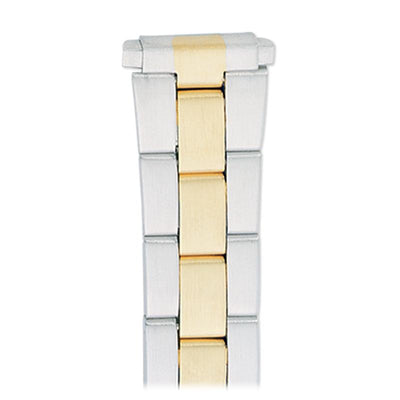 Ladies'  12-16MM Straight Adjustable End Wrapped Link Band in Dual Tone, Gold and Silver