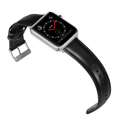 Apple Genuine Luxury Black Leather Band with Silver and Black Adapters 38mm/40mm and 42mm/44mm