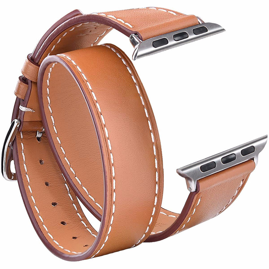 38mm/40mm Brown Leather Double Tour Watchband for Apple Watch