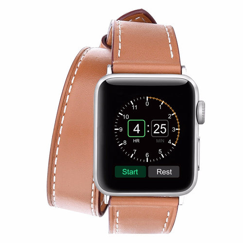 Brown Leather Double Tour Watchband for Apple Watch