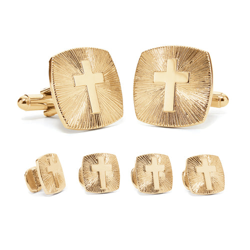 Cross Cuff Link & Stud Set