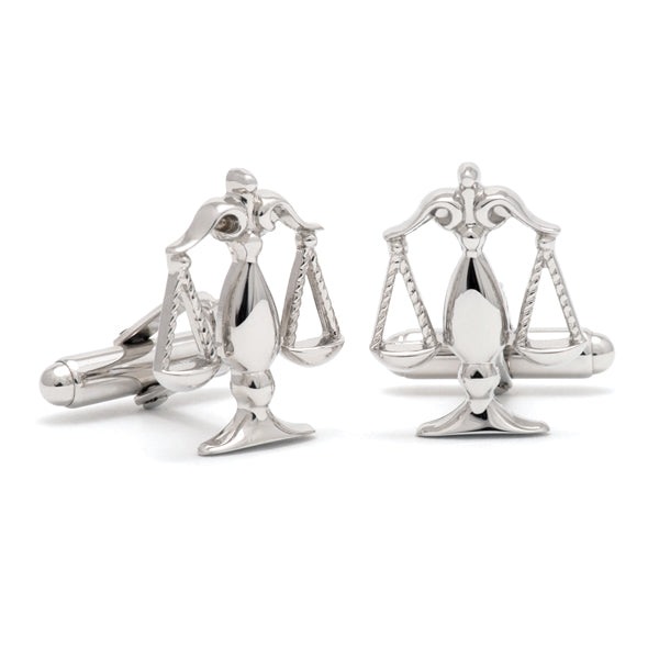 Sterling Silver Scales of Justice Cuff Links