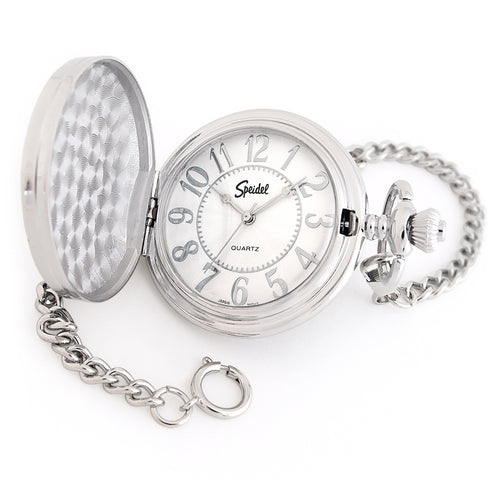 "Speidel Classic Smooth Pocket Watch with 14"" Chain, Silver Tone with White Dial in Gift Box Engravable"