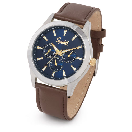 Men's Leather Triple Sub-Dial Watch Collection