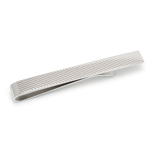 Sterling Silver Diagnal Stripe Tie Bar