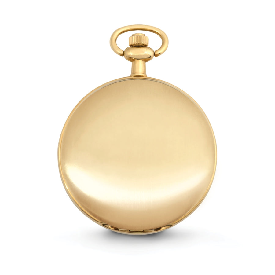 "Speidel Classic Smooth Pocket Watch with 14"" Chain, Gold Tone with White Dial in Gift Box œ Engravable"