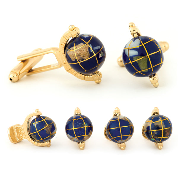 Spinning Globe Cuff Links & Studs Set