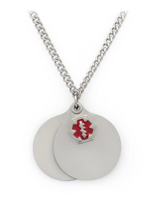 "Medilog ID Stainless Steel 26"" Necklace with Round Pendants"