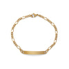 Ladies' ID Figaro Bracelet with Polished Plaque Silver & Gold Tone