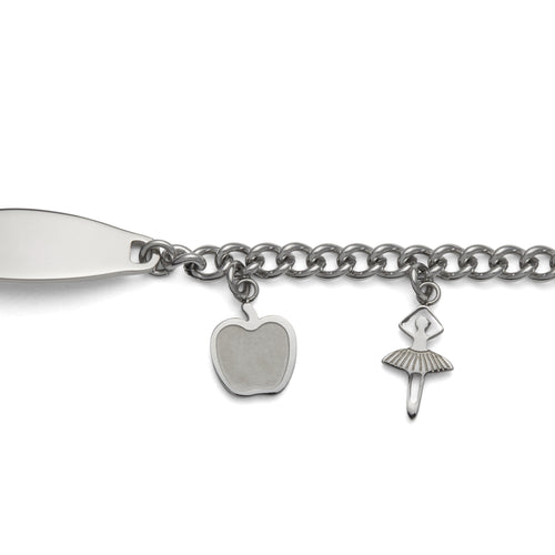 Children's ID Bracelet with Plaque and Girl's Charms