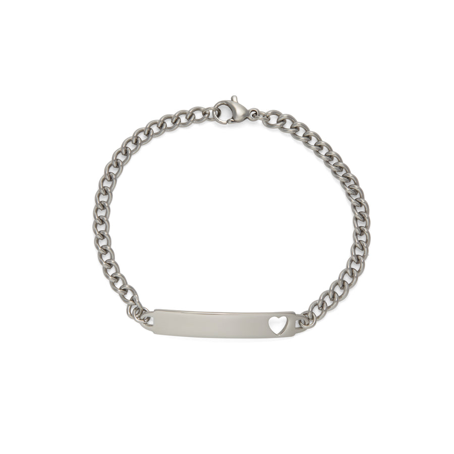 Children's ID Bracelet with Heart Shaped Cut Out Silver & Gold Tone