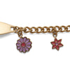 Children's ID Bracelet with Plaque and Flower Charms Silver & Gold Tone