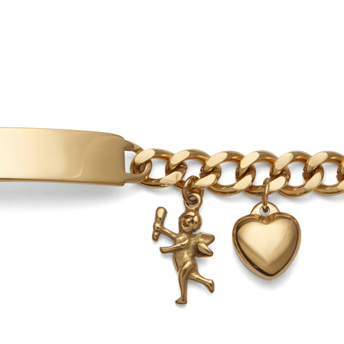 Ladies' ID Bracelet with Plaque and Cherub and Heart Charms Silver Tone