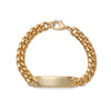 Men's ID Curb Bracelet with Pattern Dual Finish Silver & Gold Tone