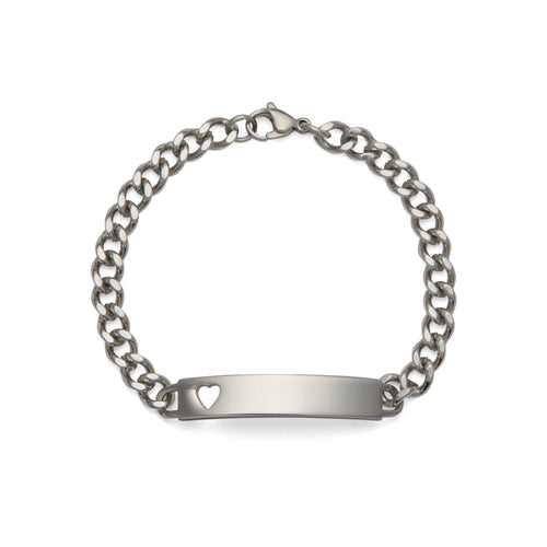 Ladies' ID Bracelet with Heart Cut Out Plaque