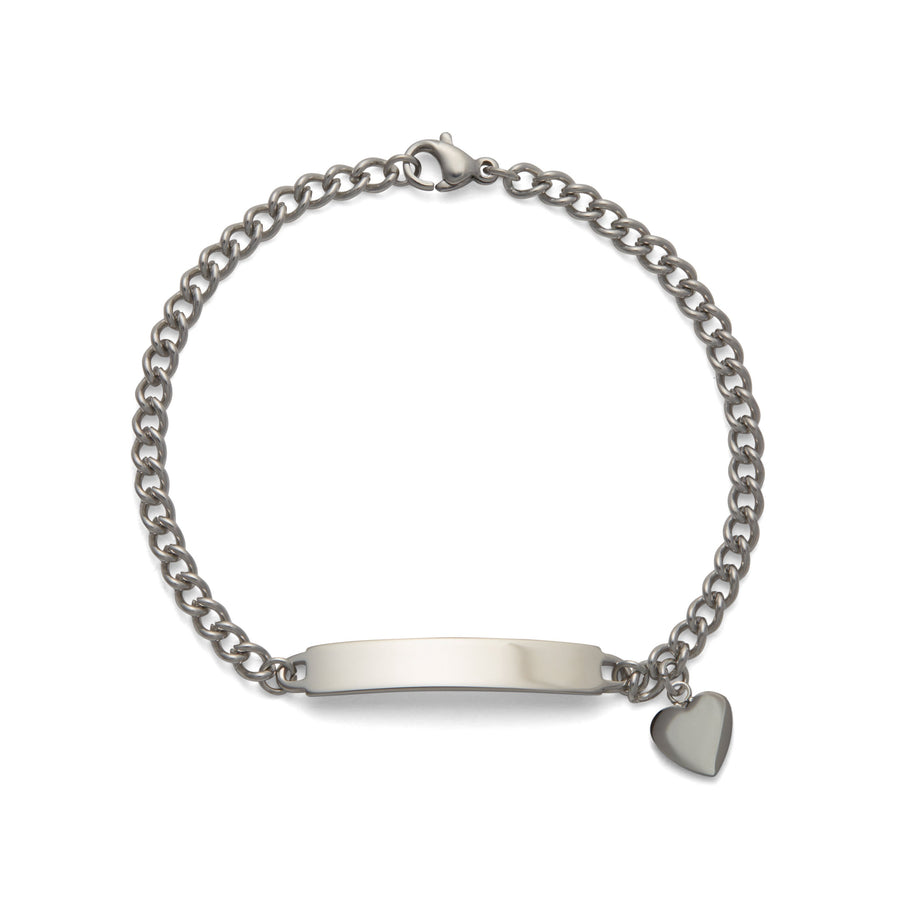 Ladies' ID Bracelet with Polished Plaque and Heart Charm Silver & Gold Tone