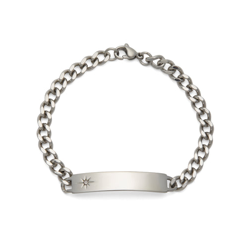 Ladies' ID Bracelet with Etched Star and Crystal Plaque Silver Tone