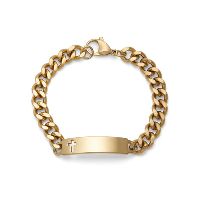 Men's ID Bracelet with Polished Plaque with Cross Silver & Gold Tone