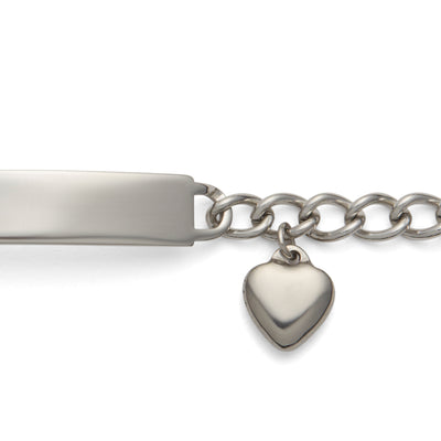Ladies' ID Bracelet with Heart Cut Out Plaque and Heart Charm Silver & Gold Tone
