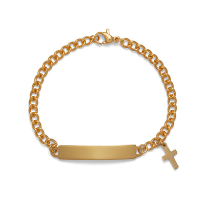 Childrens ID Bracelet with Plaque and Cross Charm Silver and Gold Tone