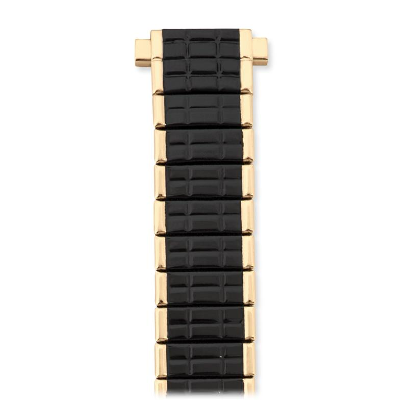 Ladies 10-12MM Twist-O-Flex Classic Romunda Style Band with Adjustable Straight End in Blk/Sil, Blk/Gold and White/Gold