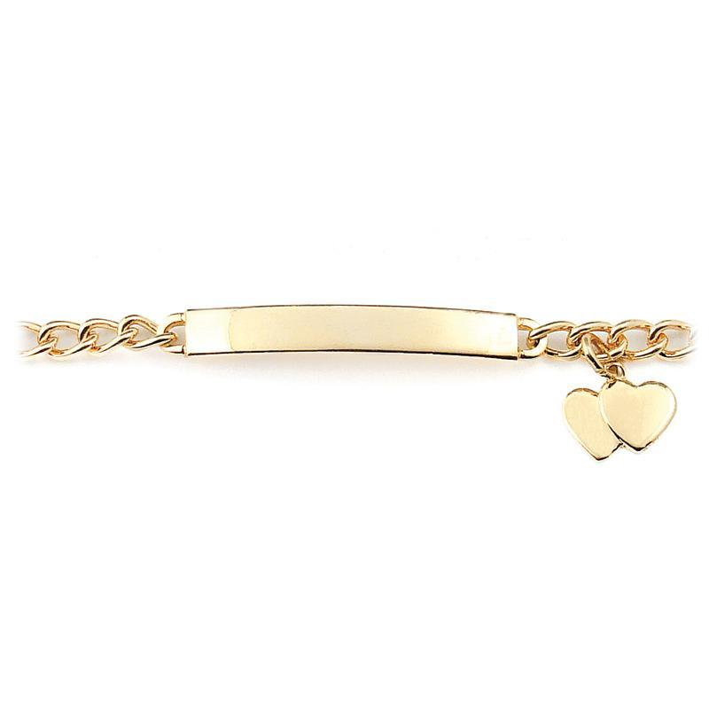 My First ID Bracelet with Plaque and Double Heart Charm Silver & Gold Tone