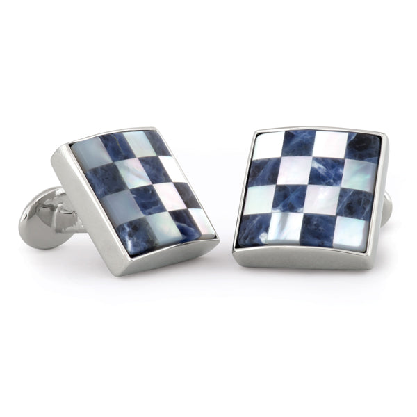 Sterling Silver Mother of Pearl & Lapis Cuff Links