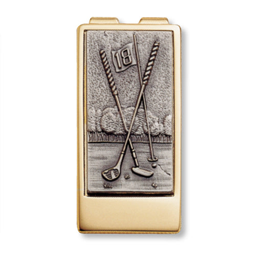 Crossed Clubs Money Clip