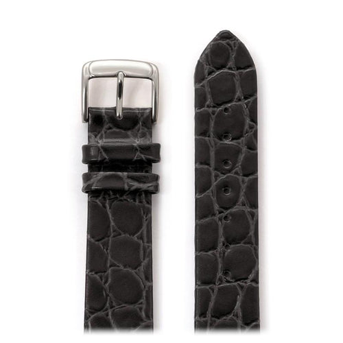 Men's Classic Crocodile Grain Leather Band in Black, Brown and Burgundy