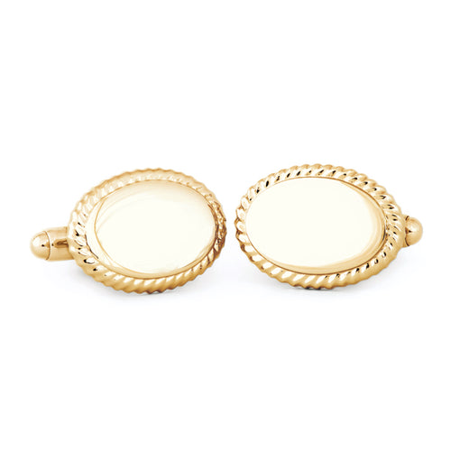 Oval Beaded Edge Cuff Links