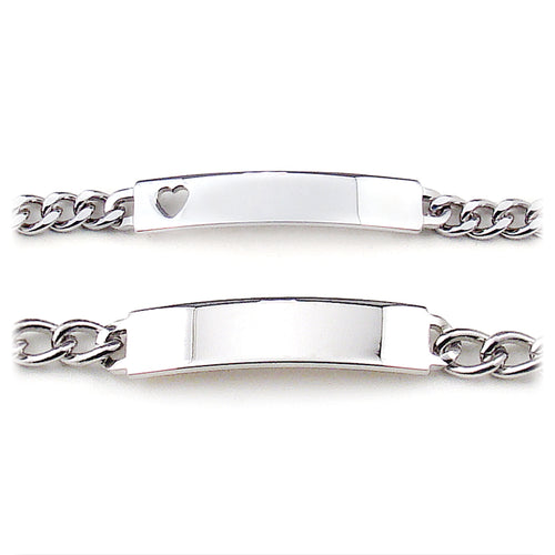 His and Hers ( Heart Cut Out)  Boxed ID Bracelets Silver tone