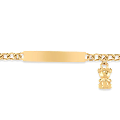 My First ID Bracelet with Plaque and Teddy Bear Charm Silver & Gold Tone