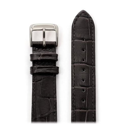 Men's Padded Alligator Grain Leather Band in Black and Brown