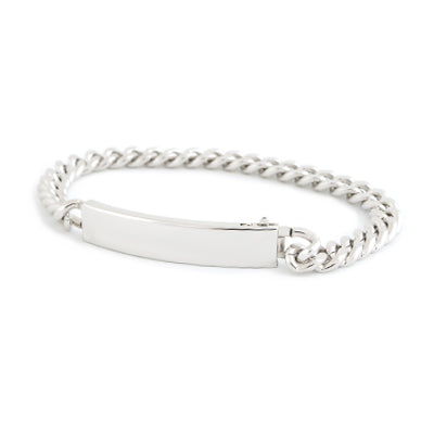 Ladies' ID Bracelet with Polished Plaque Silver & Gold Tone