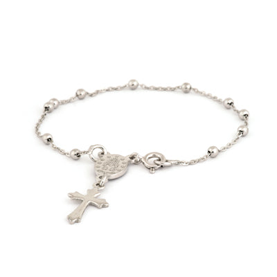 Sterling Silver Bracelet With Miraculous Mary Medal and Cross