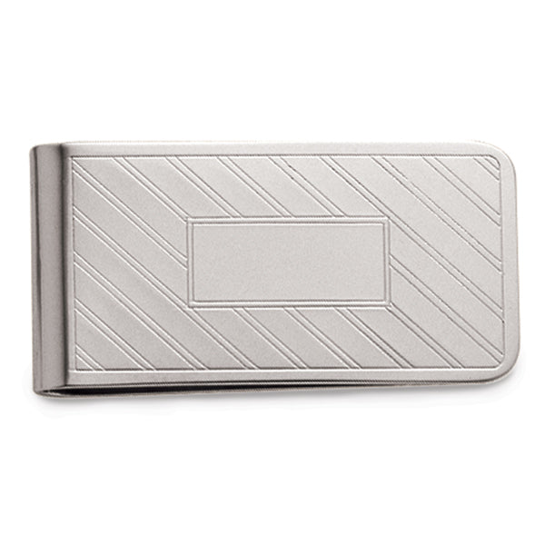 Sterling Silver Money Clip w/ Lines & Signet