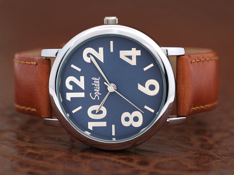 Men's Large Numeral Leather Timepiece