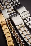 Mens 18-22MM Stainless Steel Mesh Band with Straight Adjustable End in Gold, Silver or Black feat_1