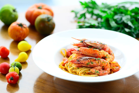 Linguine with Sicilian prawns from Mazara and cherry tomatoes