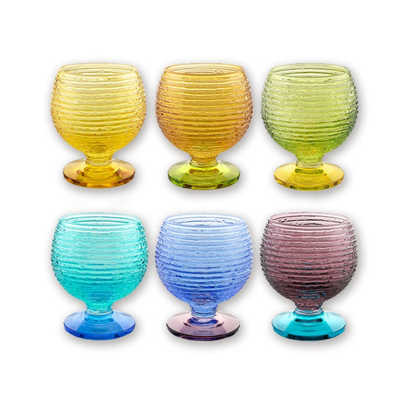 MULTICOLOR SET 6 LIQUEUR GLASSES ASSORTED COLOURS