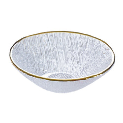 Christmas party clear glass bowl with gold decoration
