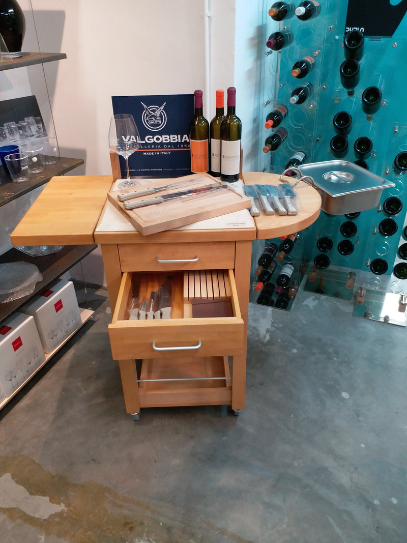 SERVING TROLLEY WITH KITCHEN LINE KNIVES - 100% made in Italy, in beech wood  and with a worktop cover in Botticino marble