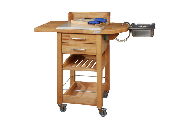 SERVING TROLLEY MOD. P3 WITH KITCHEN LINE KNIVES - 100% made in Italy, in beech wood  and with a worktop cover in Botticino marble
