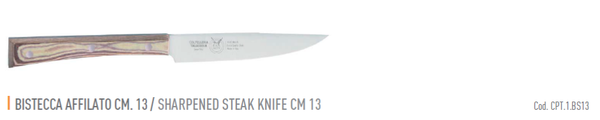 SHARPENED STEAK CM 13 PAPERSTONE - total profile with PAPERSTONE handle and INOX rivets