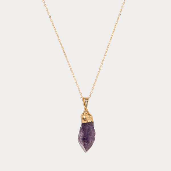 Natural Purple Amethyst Crystal Pendant Necklace