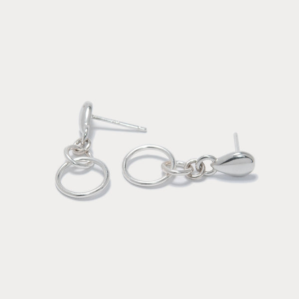 Pear Stud Hoop Earrings